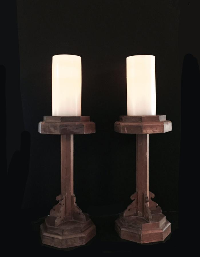 Pair Antique Japanese Carved Wood Shokudai (Candle Stands)