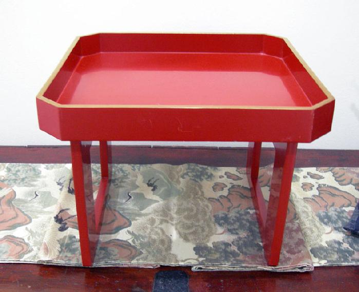 Antique Japanese Red Lacquer Wood-Tray-Table ( Zen )- Late Meiji/early Taisho Period