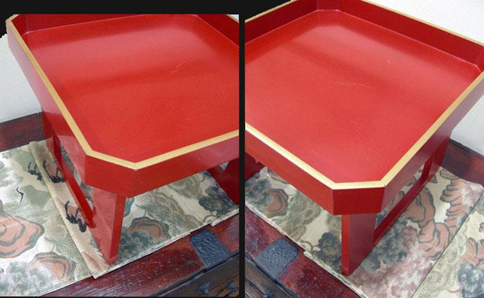 Antique Japanese Red Lacquer Wood-Tray-Table ( Zen )- Late Meiji/early Taisho Period - Corner's View