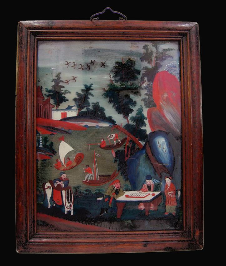Antique Chinese Reverse Painting on Glass in Original Rosewood Frame/Hanger -1880-1900