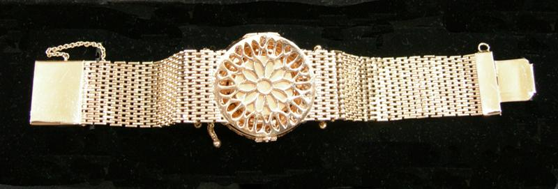 Antique 14K YG and Diamond Rosiers Watch with Kar-Vic on the Dial  - Reverse View