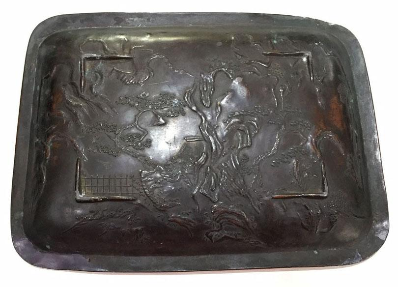 Antique Japanese Copper Over Metal Tray With Arhats - Reverse View
