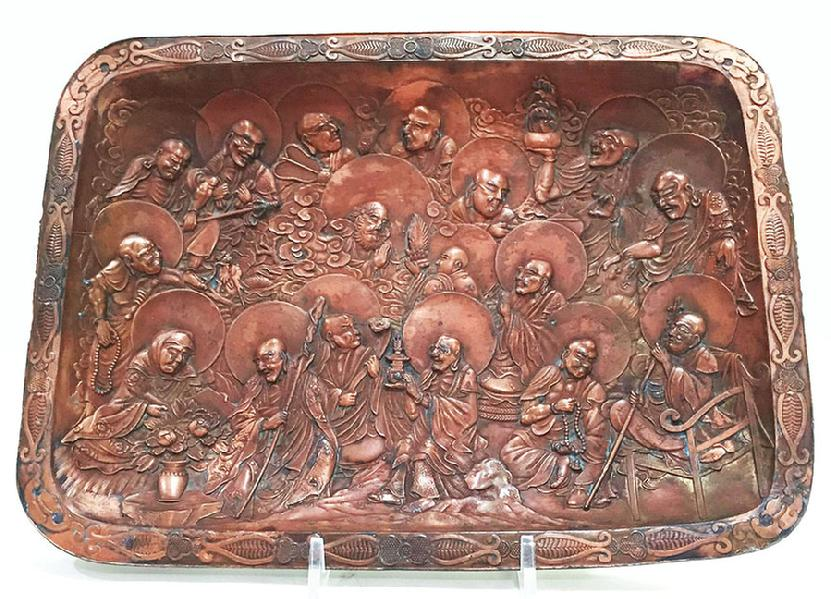 Antique Japanese Copper Over Metal Tray With Arhats