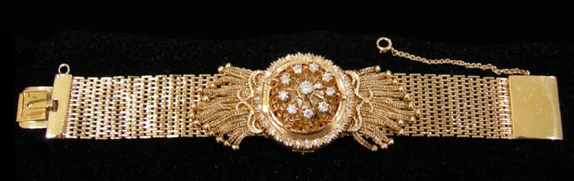 Antique 14K YG and Diamond Rosiers Watch with Kar-Vic on the Dial