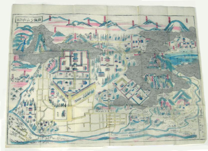 Antique Japanese Woodblock Printed Map - Nikko oyama no ezu (Pictorial Illustra- tion of the Nikko mountains) - Reverse View
