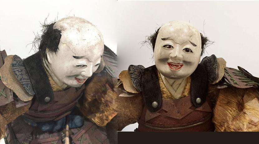 Large Antique Japanese Musha-e Retainer/ Standard Bearer Doll With Banner - Two Views of the Head