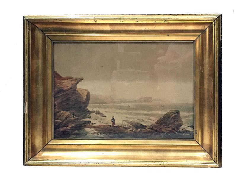 Antique Watercolour Painting of a Coastal Scene by George Robert Vawser - c. 1830's-40's in Original Decorative Gilt Frame