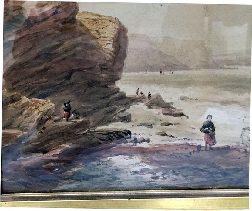 Antique Watercolour Painting of a Coastal Scene by George Robert Vawser - c. 1830's-40's in Original Decorative Gilt Frame - Closeup View